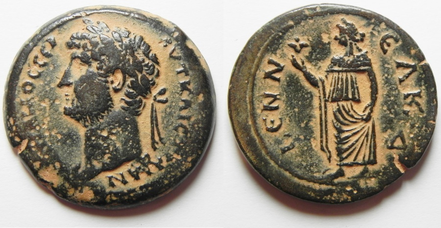 Ancient Coins - HIGHLY ATTRACTIVE LEFT FACING: Egypt. Alexandria under Hadrian (AD 117-138). AE drachm (34mm, 22.63g).