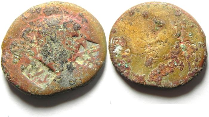 Ancient Coins - Roman Provincial. Judaea, Caeasarea Maritima under Nero, 54-68 CE. AE 25