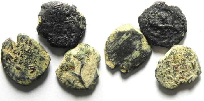 Ancient Coins - JUDAEA , LOT OF 3 HASMONEAN PRUTOT