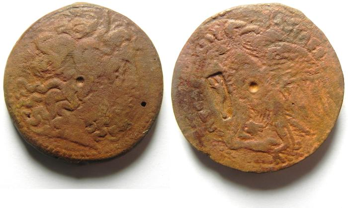 Ancient Coins - VERY NICE PTOLEMY COINS AE 36 , COUNTER MARKED, VERY RARE IN THIS CONDITION!