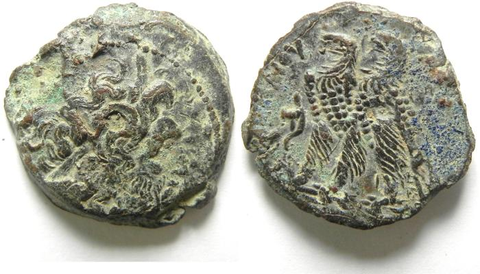 Ancient Coins - Ptolemaic Kingdom. Ptolemy VI Philometor. Joint reign with Ptolemy VIII, 170-164/3 B.C. Æ 23. Alexandria