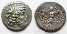 Ancient Coins - GREEK. Seleukid kings. Demetrios II Nikator (second reign, 129-126/5 BC). AR tetradrachm (28mm, 16.02g). Damascus mint. Struck in SE 184 or 185 (129/8 or 128/7 BC).