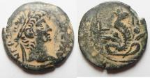 Ancient Coins - Egypt. Alexamdria. Nero AE Diobol with Agathodaemon Serpant. 67/68 (Year 14)