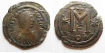 Ancient Coins - BYZANTINE. HUGE FOLLIS OF ANASTASIUS. 39MM
