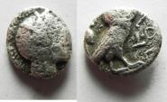 Ancient Coins - GREEK. Uncertain Near Eastern imitation of Athenian issue. AR drachm (15mm, 3.42g). Struck fifth-early fourth century BC.