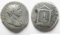 Ancient Coins - Arabia. Bostra under Trajan (AD 98-117). AR tridrachm (21mm, 10.38 g). Struck in AD 112-114.