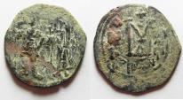 Ancient Coins - BYZANTINE. LARGE CONSTANS II AE FOLLIS