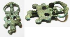 Ancient Coins - ANCIENT HOLY LAND, BYZANTINE BRONZE BELT BUCKLE WITH A CROSS. 600 - 800 A.D