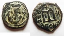 Ancient Coins - BYZANTINE . MAURICE TIBERIUS AE FOLLIS. ORIGINAL DESERT PATINA