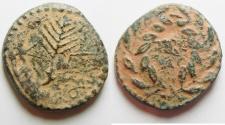 Ancient Coins - Be-Header of John The Baptist: JUDAEA, Herodians. Herod III Antipas. 4 BCE-39 CE. Æ Unit (23mm, 9.43 g). Tiberias mint.