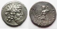 Ancient Coins - GREEK. Seleukid kings. Demetrios II Nikator (second reign, 129-126/5 BC). AR tetradrachm (28mm, 16.02g). Damascus mint. Struck in SE 184 or 185 (129/8 or 128/7 BC).