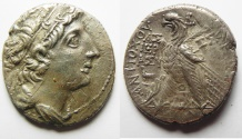 Ancient Coins - GREEK. Seleukid kings. Antiochos VIII Grypos (121/0-96 BC). AR tetradrachm (27mm, 12.59g) Ascalon mint. Struck in SE 207 (106/5 BC).
