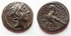 Ancient Coins - A very rare issue of Askalon.: GREEK. Seleukid Kings. Antiochos IX Kyzikenos (114/3-95 BC). AR didrachm (24mm, 6.63g). Askalon mint. Struck in SE 200 (= 113/12 BC).