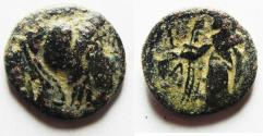 Ancient Coins - NABATAEAN KINGDOM. ARETAS II/III AE 16. OVER-STRUCK ON A PTOLEMY II COIN