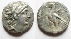 Ancient Coins - GREEK. Seleukid kings. Antiochos VIII Grypos (121/0-96 BC). AR tetradrachm (27mm, 12.57g) Ascalon mint. Struck in SE 197 (116/15 BC).