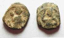 Ancient Coins - ORIGINAL DESERT PATINA: NABATAEAN KINGDOM. ARETAS IV & SHAQUILAT AE 15