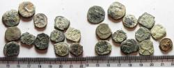 Ancient Coins - NABATAEANS OF PETRA. LOT OF 12 AE COINS. ORIGINAL DESERT PATINA