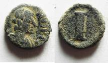 Ancient Coins - JUSTIN I - 518 - 527 A.D AE DACANUMMIUM