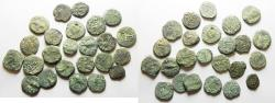 Ancient Coins - AS FOUND. IN IT'S ORIGINAL STATE: LOT OF 24 JUDAEAN BRONZE COINS