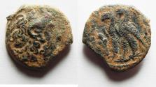 Ancient Coins - PTOLEMAIC KINGS of EGYPT. Kleopatra III & Ptolemy IX Soter II (Lathyros). 116-107 BC. Æ Obol. Kyrene mint.
