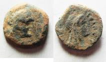 Ancient Coins - PTOLEMAIC EMPIRE. CYRENE , PTOLEMY V AE16 , WITH LIBYA ON REVERSE