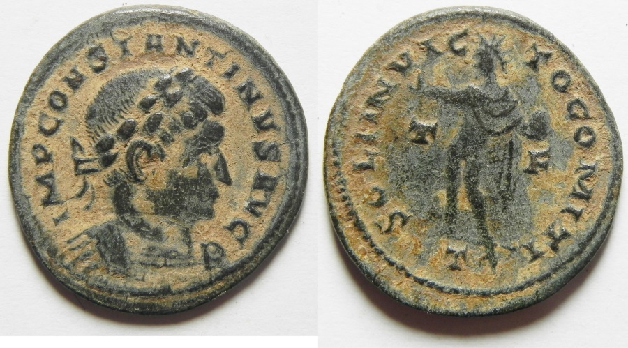 Ancient Coins - CONSTANTINE I THE GREAT AE FOLLIS, VERY NICE PATINA