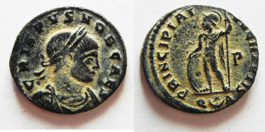 Ancient Coins - CRISPUS AE FOLLIS. SCARCE