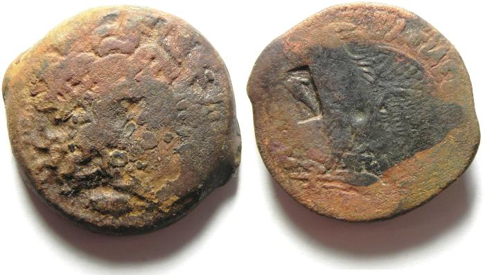 Ancient Coins - PTOLEMAIC KINGDOM , COUNTERMARKED AE 35  , 41.82GM