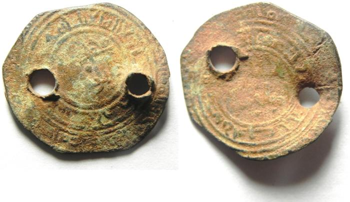 World Coins - ISLAMIC , FATIMID SILVER DERHIM , PIERCED