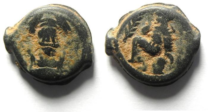 Ancient Coins - PARTHIAN KINGDOM , Vologases IV (c. A.D. 147 - 191) , AE Dichalkous , Seleucia, A.D. 154/155 , RARE!!!!
