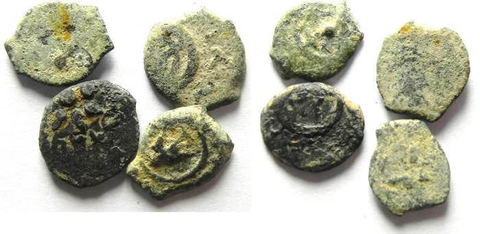 Ancient Coins - JUDAEA. Alexander Jannaeus , 103-76 BC. LOT OF 4  AE LEPTON  / WIDOW'S MITE COINS
