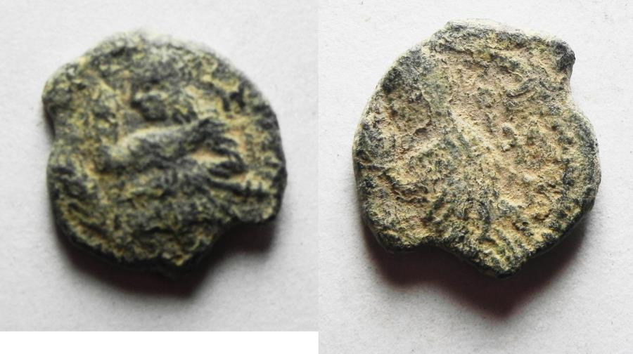 Ancient Coins - NABATAEA. Aretas IV, with Shaqilat. 9 BC- AD 40. AE 13