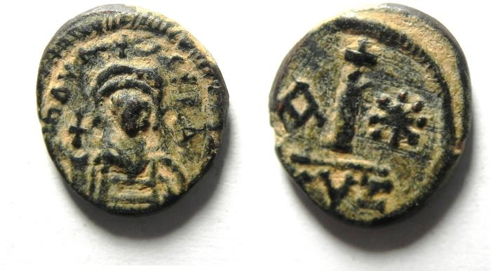 Ancient Coins - Byzantine Empire. Maurice Tiberius, AD 582-602. AE decanummium, Cyzicus mint , very rare in Choice condition!!!