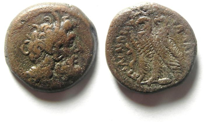 Ancient Coins - PTOLEMAIC KINGDOM , JOINT REIGN PTOLEMY VI & VIII , 170-164/3 B.C , AE 20,  NICE QUALITY FOR THE TYPE!!!