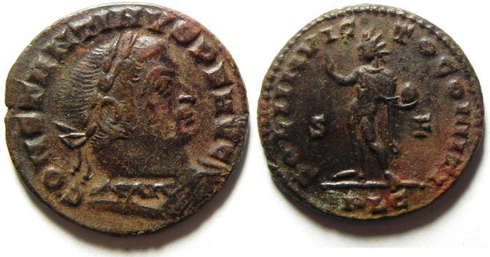 Ancient Coins - NICE CONSTANTINE I AE FOLLIS, LYONS MINT