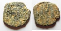 Ancient Coins - BYZANTINE. JUSTIN I AE FOLLIS. CONSTANTINOPLE