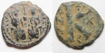 Ancient Coins - BYZANTINE. JUSTIN II & SOPHIA AE HALF FOLLIS.