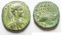 Ancient Coins - RARE MEDALLION: Decapolos. Gadara under Elagabalus (AD 218-222). AE medallion (31mm, 20.06g). Struck in civic year 281 (AD 217/18).