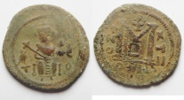 Ancient Coins - ISLAMIC. Ummayad Caliphate. Arab-Byzantine type VI AE fals (21mm, 4.45gm). Dimashq (Damascus) mint.  Struck c. AD 645-700