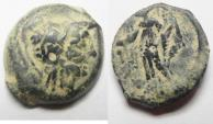 Ancient Coins - FIRST NABATAEAN COINS. ARETAS II OR III OVER STRUCK ON PTOLEMY COIN. AE 18