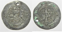 Ancient Coins - SASANIAN SILVER DERHIM. PIERCED IN ANTIQUITY