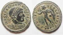 Ancient Coins - RARE & NICE: Constantine I (AD 307/310-337). AE follis (22mm, 4.06g). Ostia mint, 2nd officina. Struck AD 312-313.