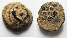Ancient Coins - JUDAEA. NICE HASMONEAN AE PRUTAH. AS FOUND