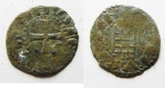 World Coins - SMALL FLAN, ROUGH STRIKE: DAVID'S TOWER: Crusaders, Latin Kingdom of Jerusalem. Baldwin III (1143-1163). BI Denier