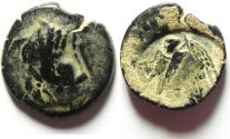 Ancient Coins - NABATAEAN KINGDOM , ARETA II OR III , OVER STRUCK ON A PTOLEMAIC AE COIN, PTOLEMY II