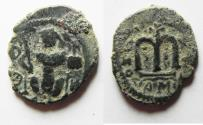 Ancient Coins - 	ARAB-BYZANTINE AE FALS. DAMASCUS MINT.