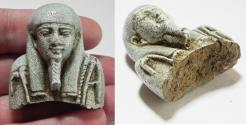 Ancient Coins - ANCIENT EGYPT, UPPER PART OF A FAIENCE USHABTI. BEAUTIFUL! 600 - 300 B.C