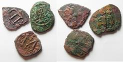 Ancient Coins - LOT OF 3 ARAB-BYZANTINE AE FALS COINS