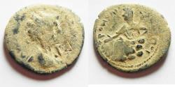 Ancient Coins - Petra Arabia. Septimius Severus AE25 , Tyche Seated Left Nice Desert Patina