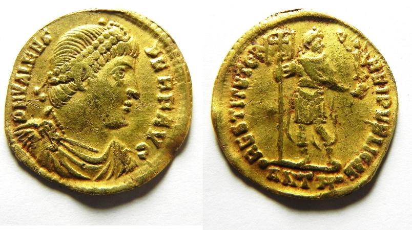 Ancient Coins - Roman Imperial. Valens (AD 366-367). AV solidus (4.08g, 21mm). Antioch mint, eighth officina.